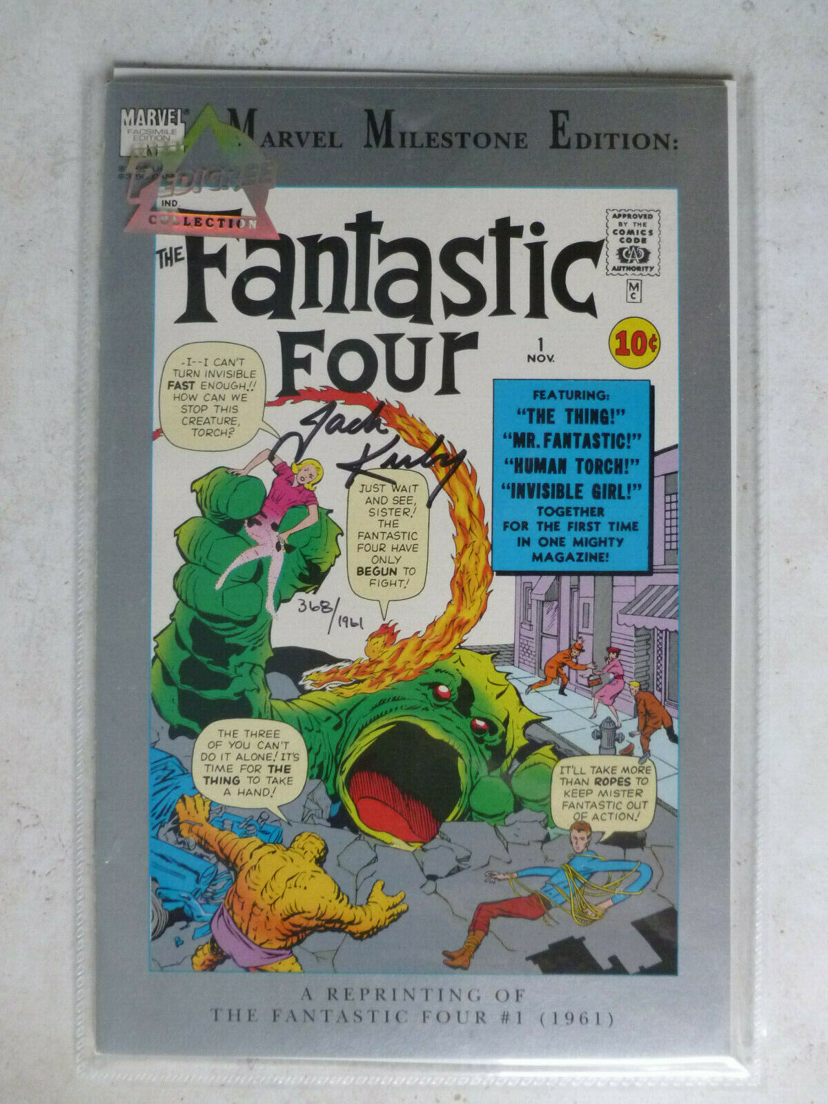 MARVEL MILESTONE EDITION Signed Comic by Jack Kirby w/COA  Fantastic Four #1