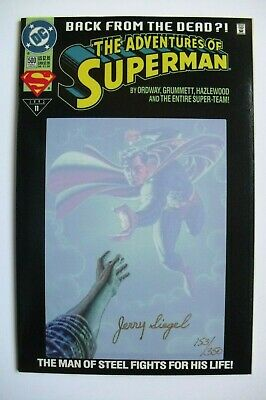 JERRY SIEGEL SIGNED 10X8 PHOTO LOOKS AWESOME FRAMED GREAT SUPERMAN DOODLE