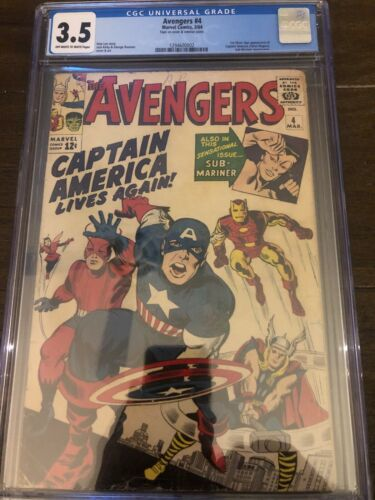 The Avengers #4 1st Silver Age Captain America CGC Certified 3.5 Cream/OW Pgs