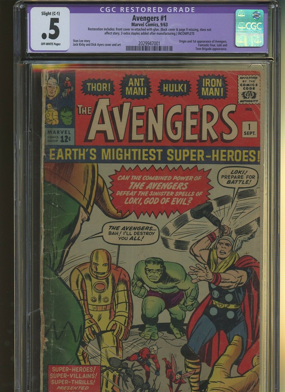 Avengers 1 CGC Restored 0.5 | Marvel 1963 | Origin & 1st Avengers.