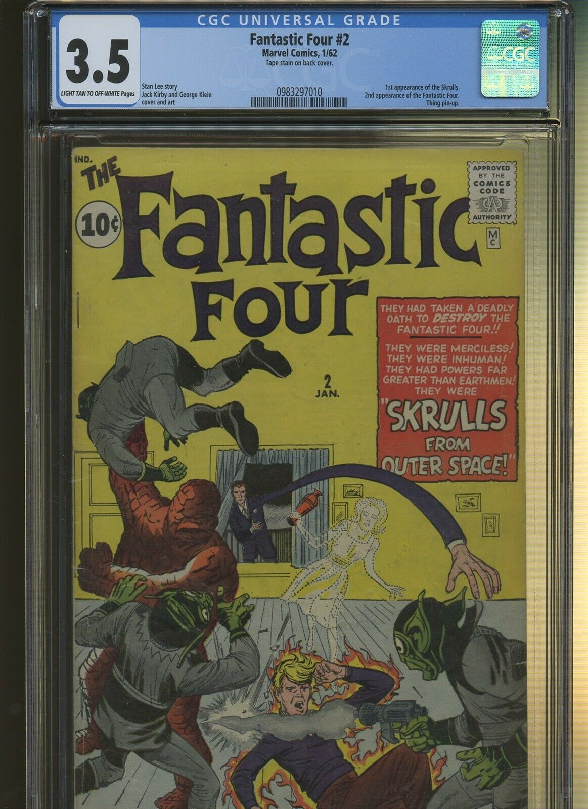 Fantastic Four 2 CGC 3.5 | Marvel 1962 | 1st Skrulls. 2nd Fantastic Four.