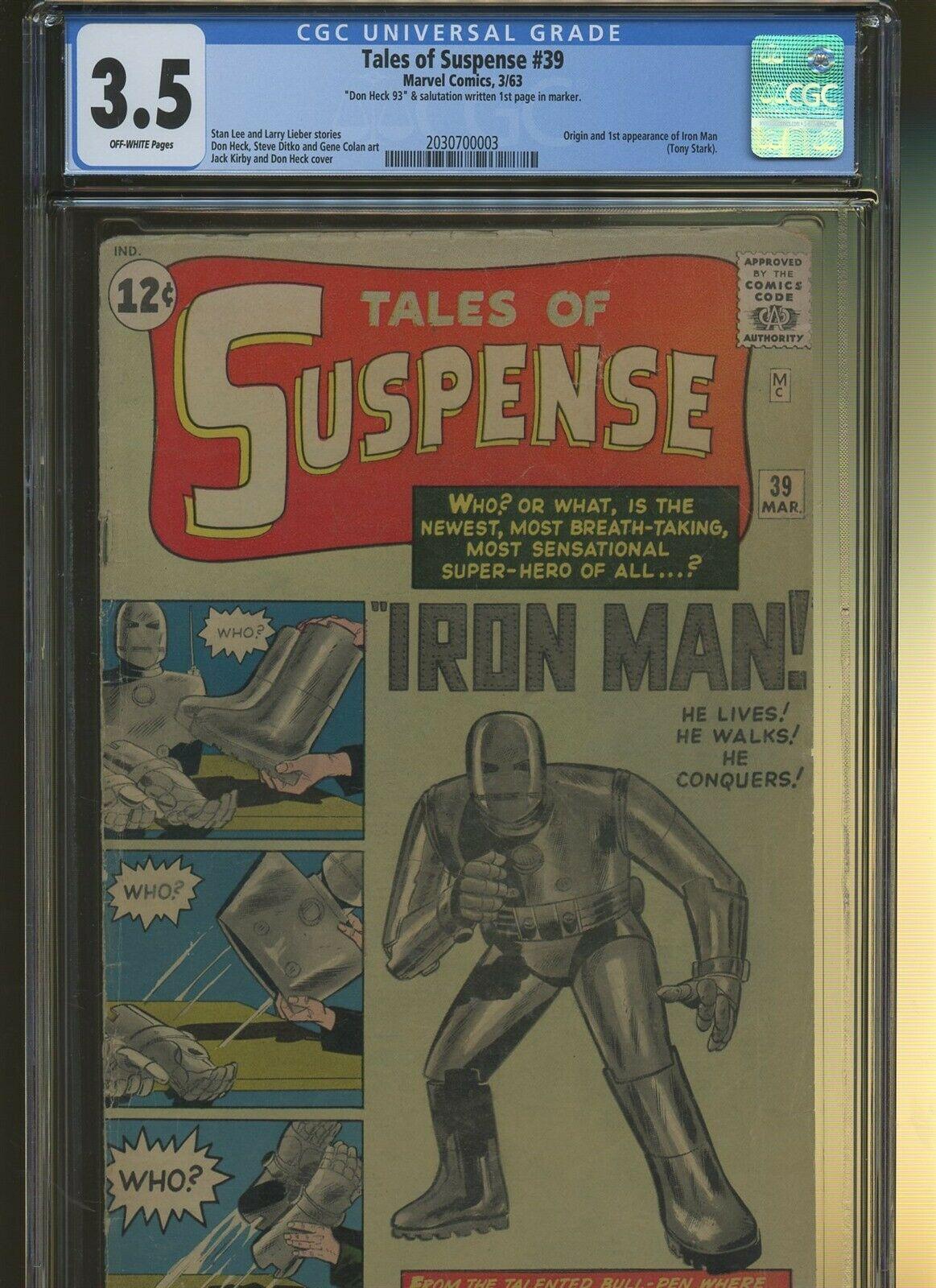 Tales of Suspense 39 CGC 3.5 | Marvel 1963 | Origin & 1st Iron Man - Tony Stark.