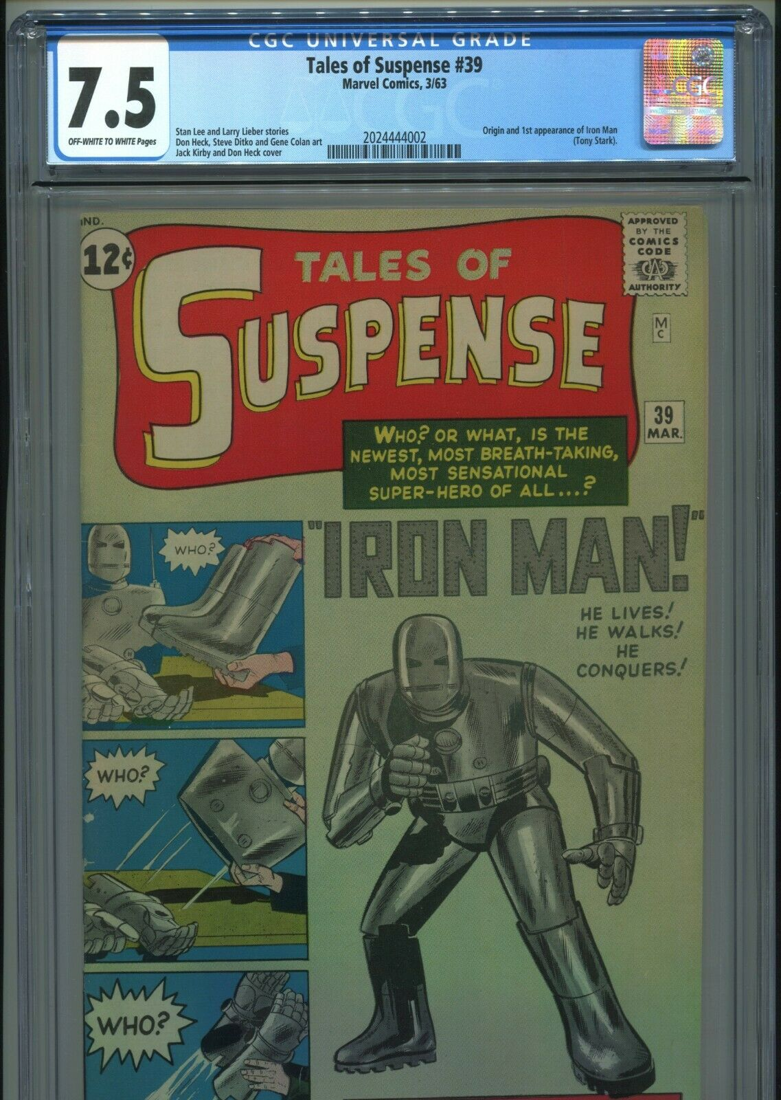 1963 MARVEL TALES OF SUSPENSE #39 1ST APPEARANCE IRON MAN CGC 7.5 OW-W AVENGERS