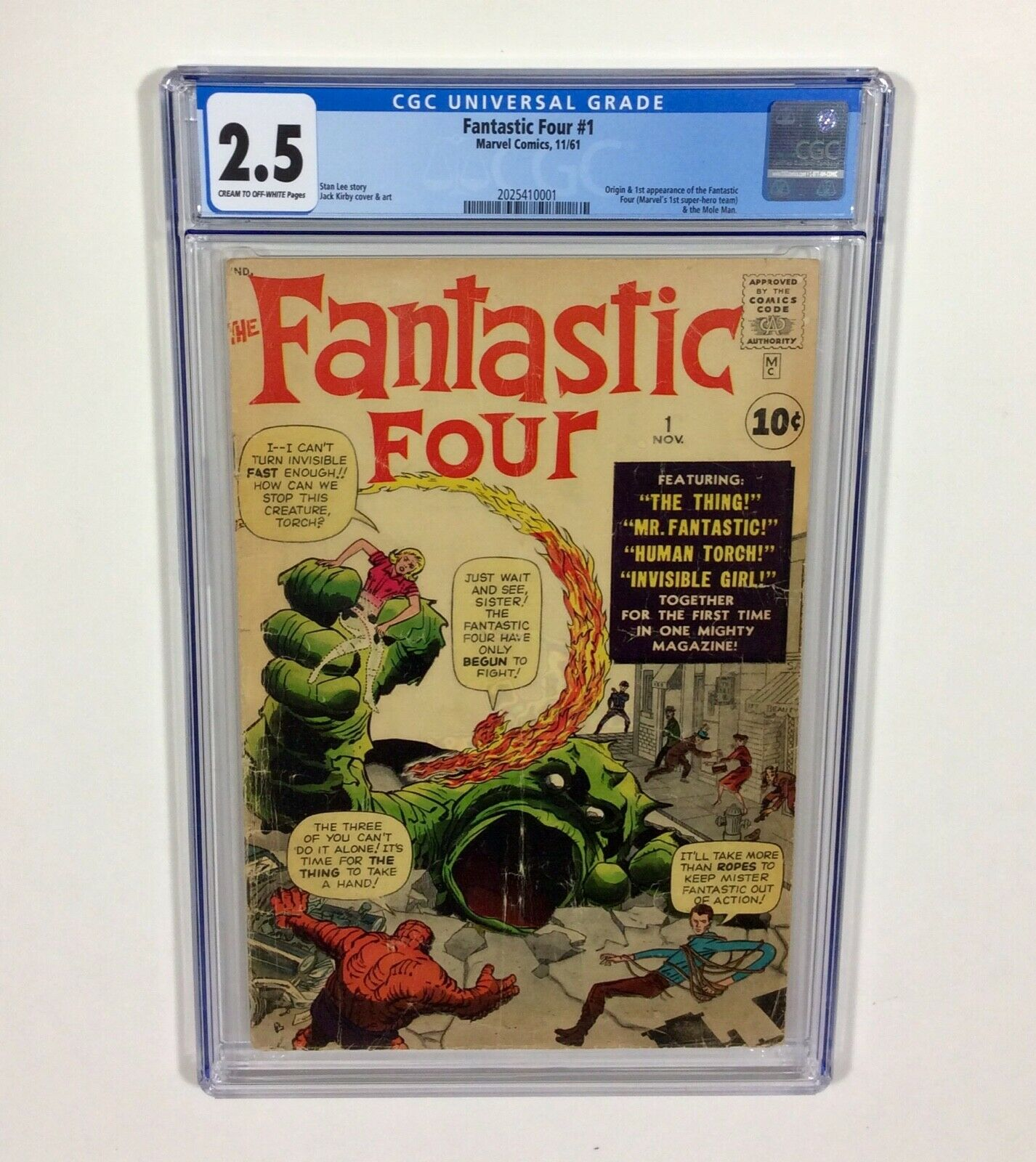 Fantastic Four #1 CGC 2.5 KEY (1sr Fantastic Four & Origin) Nov.1961 Marvel