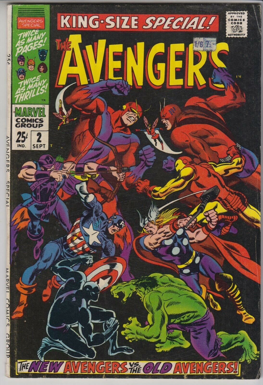 AVENGERS # 2  KING-SIZE SPECIAL  VG/FN  NEW AVENGERS VS OLD AVENGERS CENTS 1968