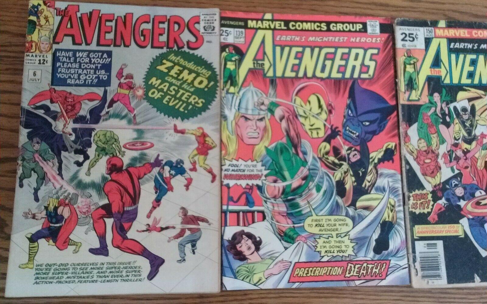 The AVENGERS 1964 number 6 comic & AVENGERS 139 and AVENGERS 150 comic rare ZEMO