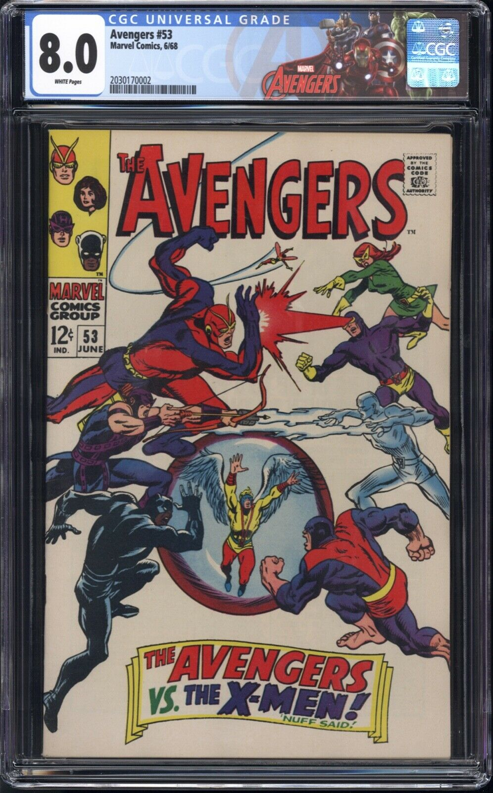 Avengers #53 CGC 8.0 White pages X-Men vs Avengers New CGC Avengers label