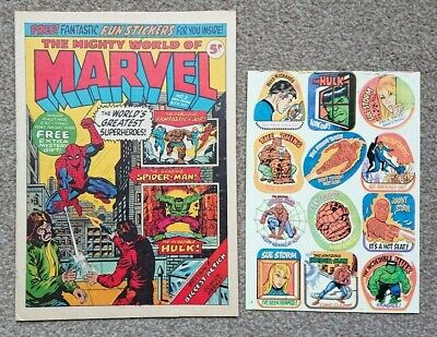 Mighty World Of Marvel #3 UK Weekly with Free Gift Stickers 21st October 1972