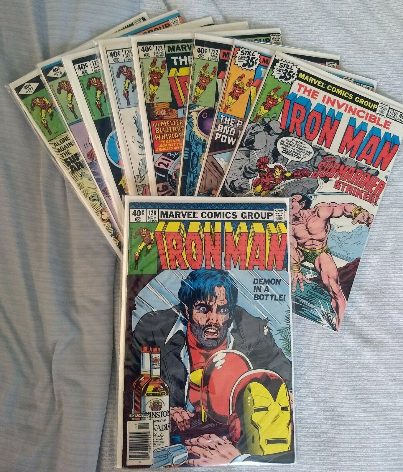 Lot 9 IRON MAN COMICS #120, 121, 122, 123, 124, 125, 126, 127, 128 DEMON BOTTLE