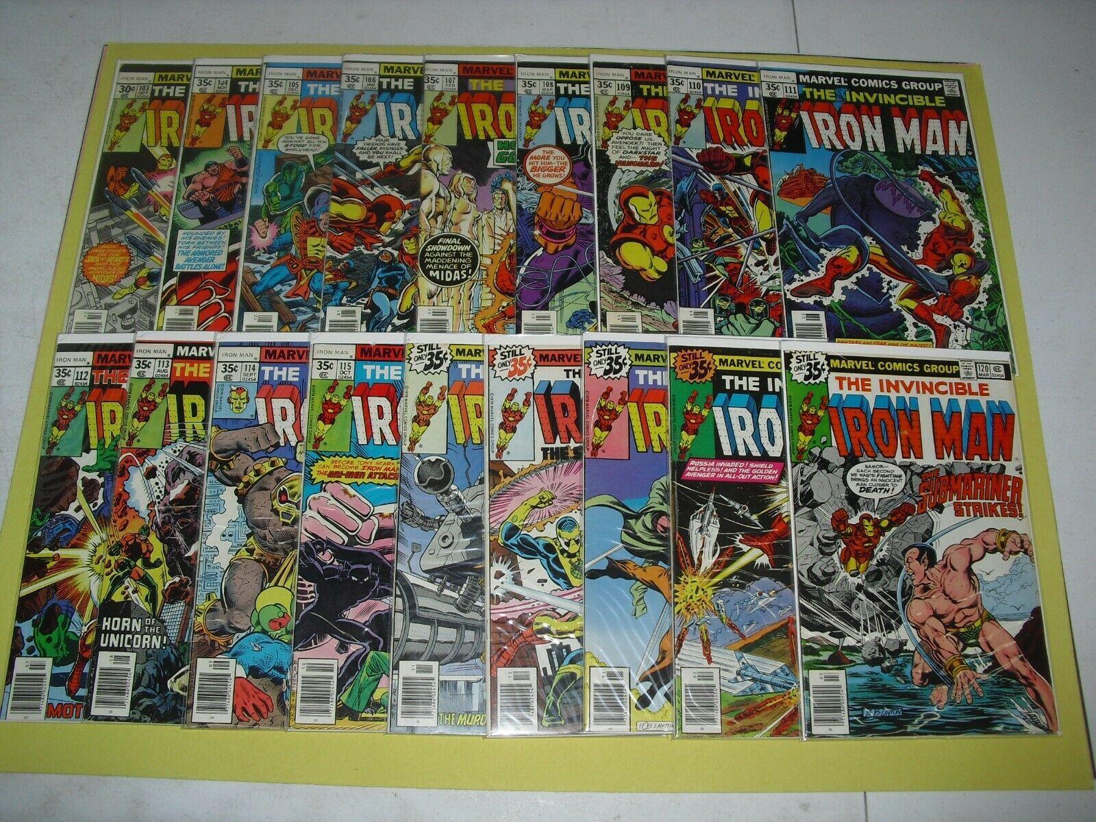 Lot 18 Invincible Iron Man run 103-120 all Fine to VF Marvel 1977 104 105 469