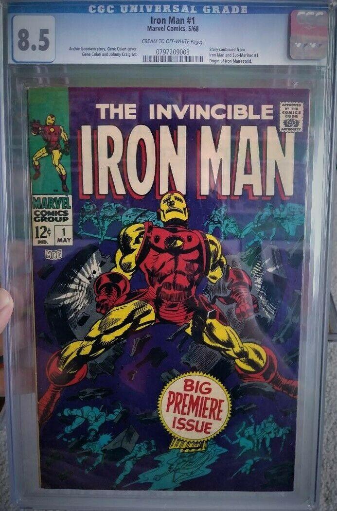 Iron Man #1 CGC 8.5 Captain America Avengers Thor Hulk 101 silver age GEM COVER