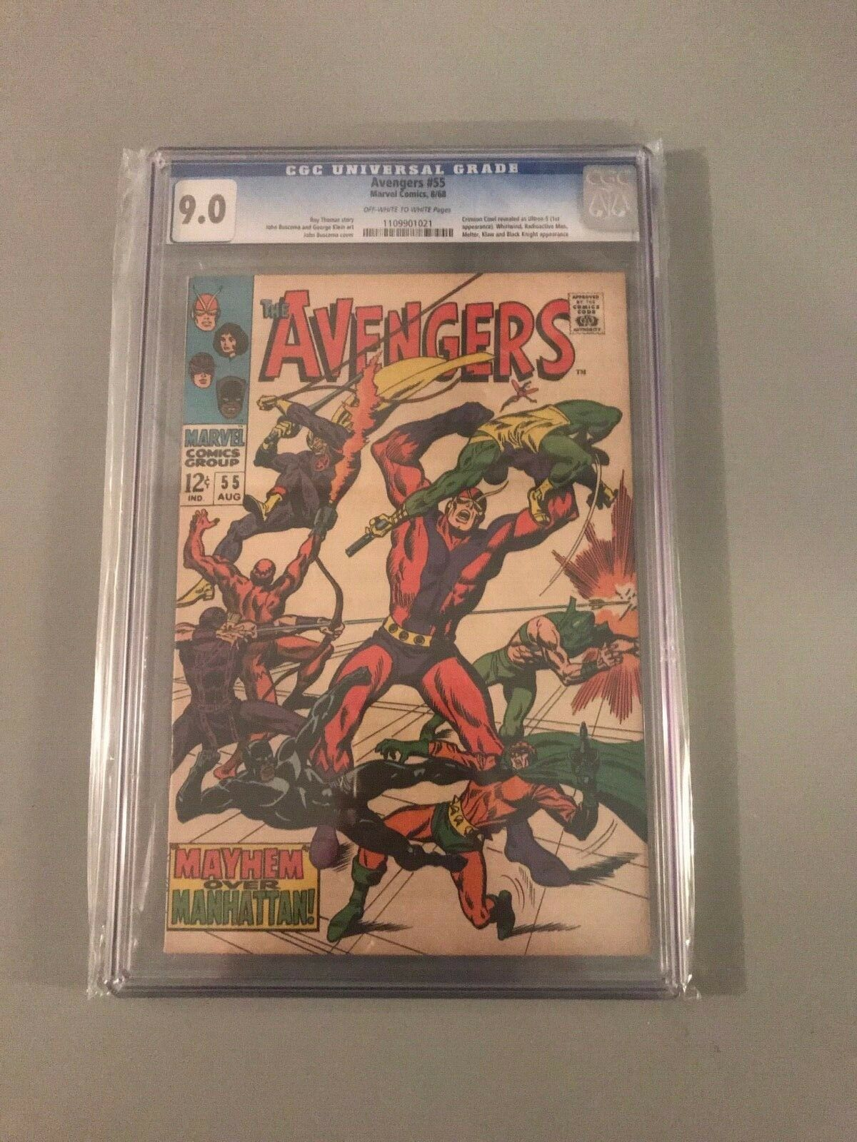 AVENGERS ISSUE 55 AUG 1968 |  CGC 9.0 VF/NM | 1ST APP OF ULTRON-5 | SILVER-AGE