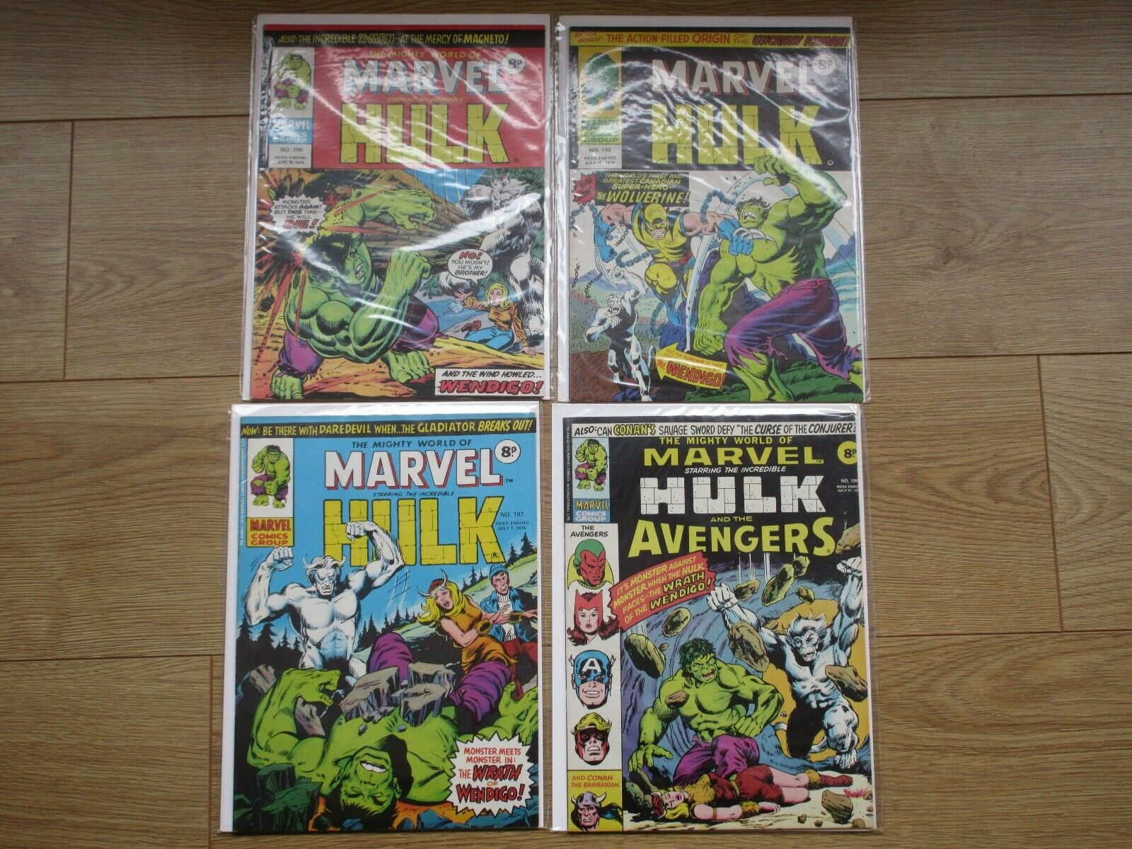 Mighty World Of Marvel Incredible Hulk # 196,197,198,199 1st UK App Wolverine,vf