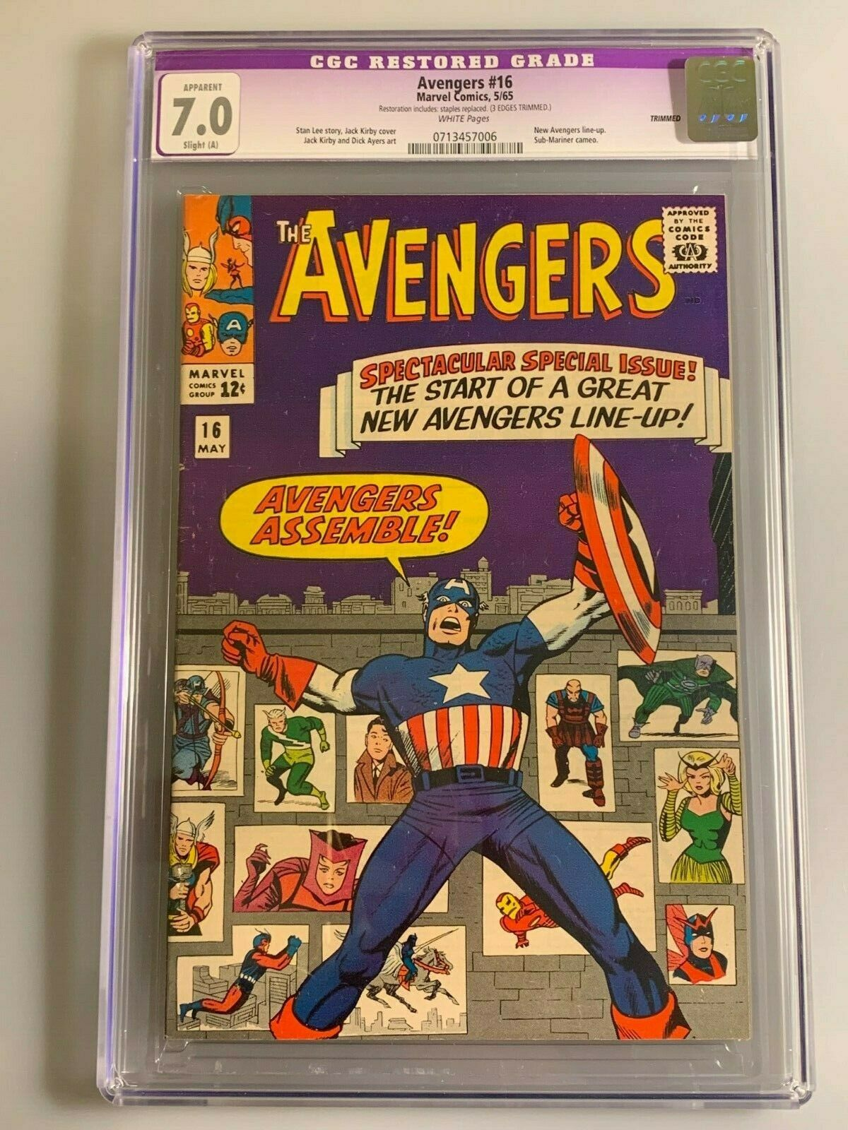 Avengers 16 - CGC 7.0 - Restored - New Avengers Line-Up - AVENGERS ASSEMBLE