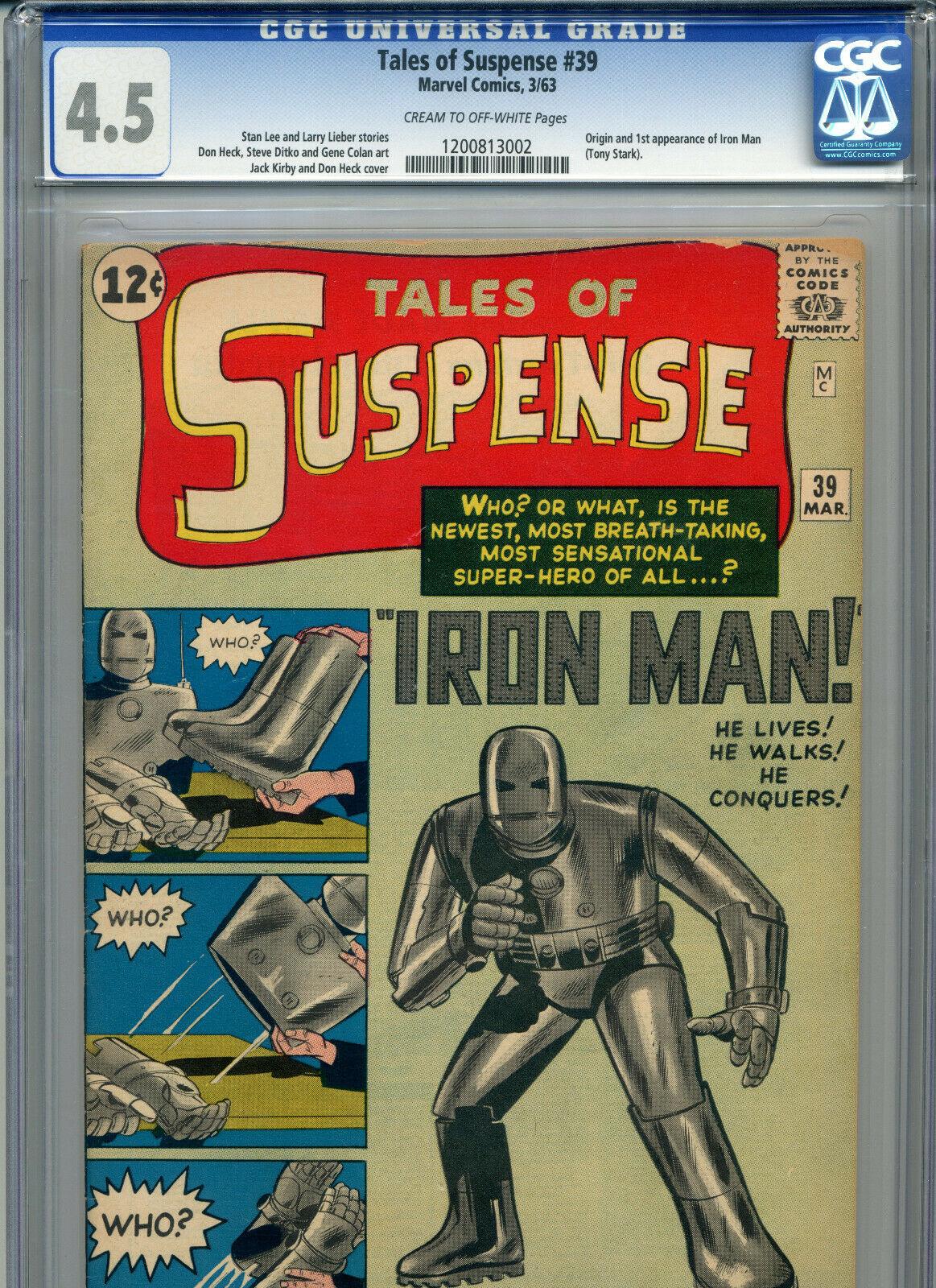 TALES OF SUSPENSE #39 CGC GRADED 4.5 (1963 MARVEL) 1ST TONY STARK IRON MAN