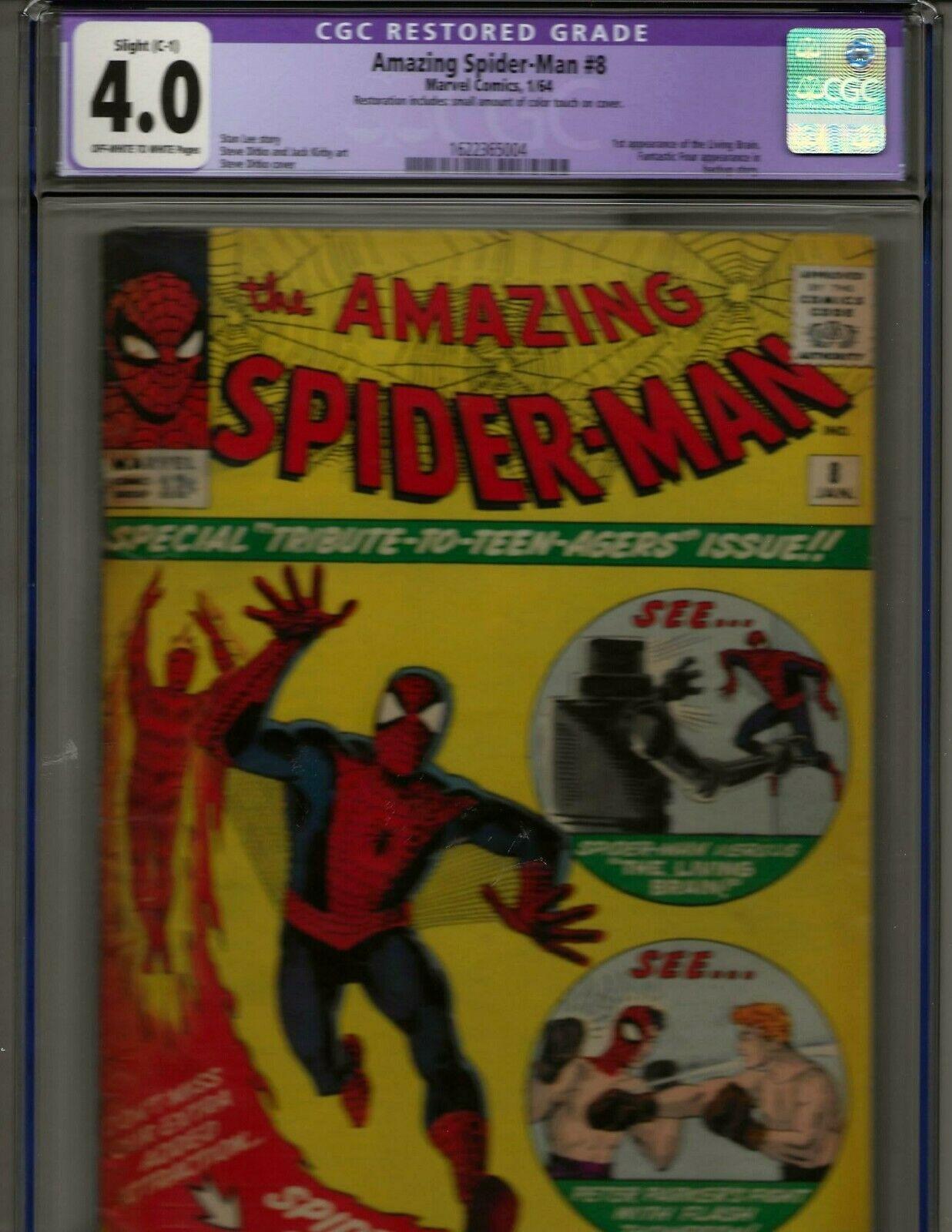 AMAZING SPIDER-MAN #8 CGC 4.0 VG OW/W Slight C-1 Marvel 1/64 FANTASTIC FOUR