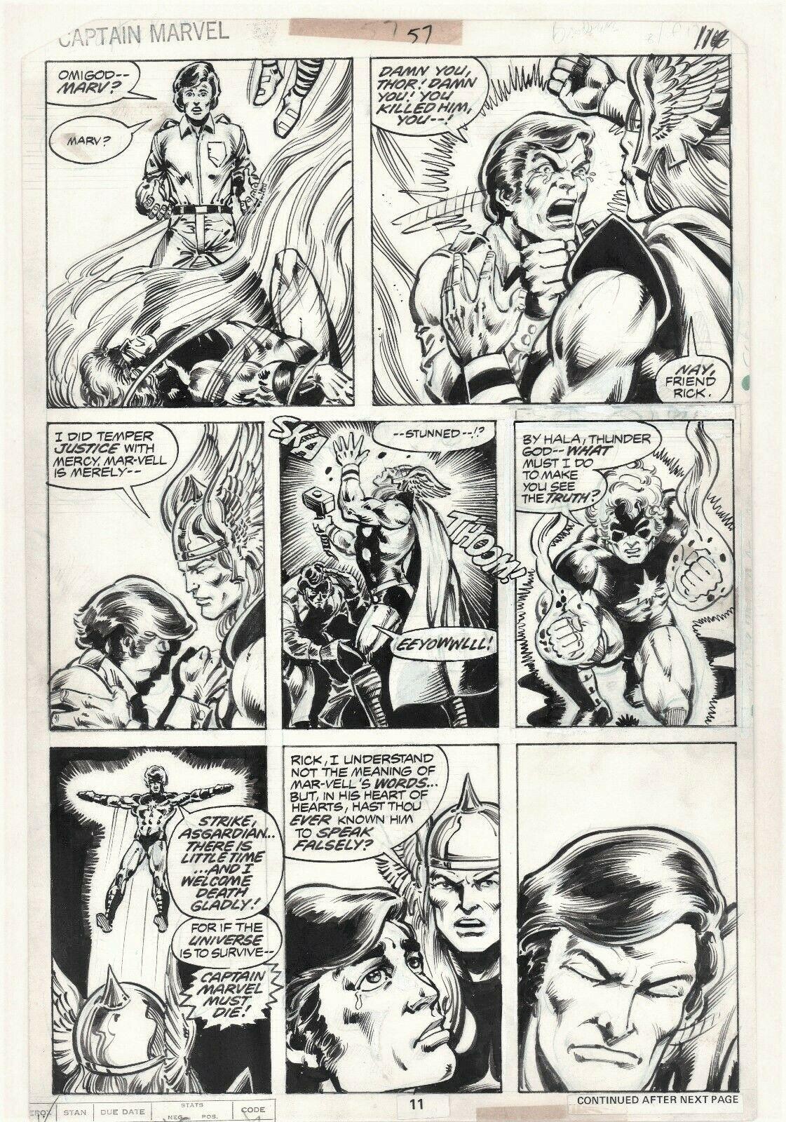 Captain Marvel #57 Page 11 Original Art Vs Thor Pat Broderick Avengers RARE 1978