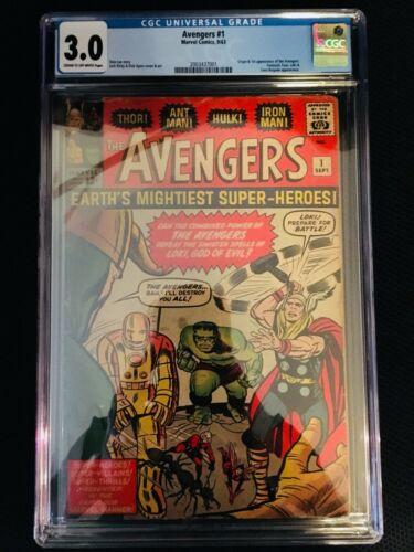 Avengers # 1 CGC 3.0 1st  App of team Stan Lee , 2,8 Marvel Hulk,Thor,  Iron Man
