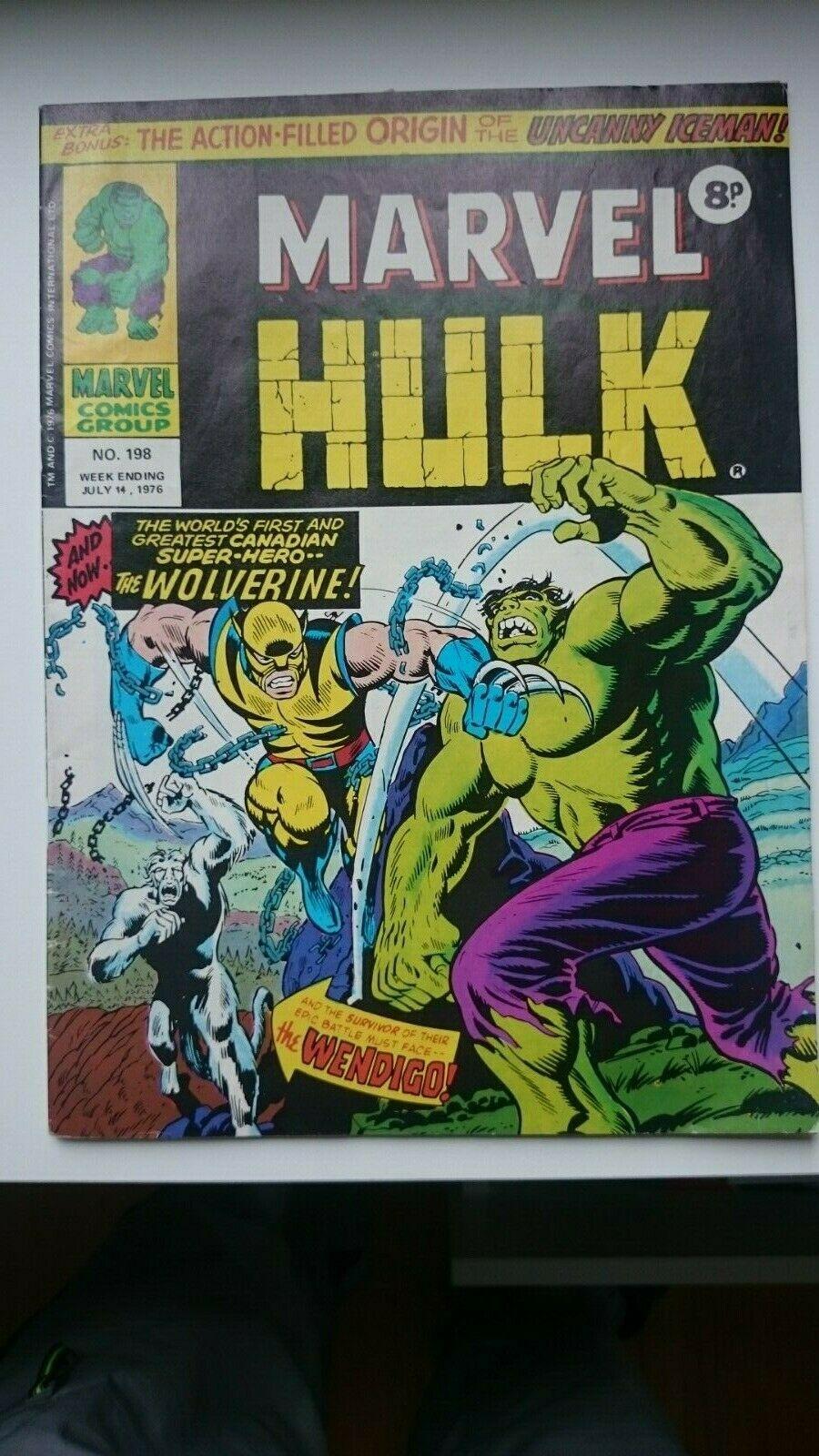 HULK 181 RARE UK MIGHTY WORLD MARVEL #198 VF+ 8.5 1972 1ST WOLVERINE APP.