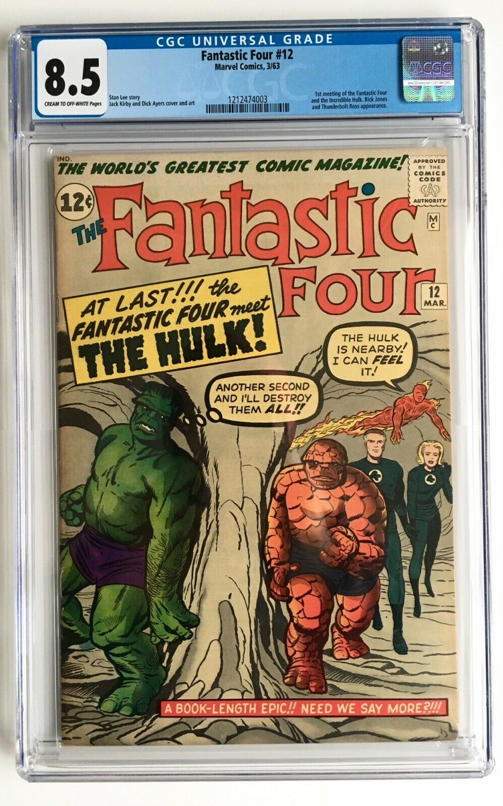 FANTASTIC FOUR #12 CGC 8.5 1ST HULK vs Fantastic Four battle, 2,4 Stan Lee Kirby