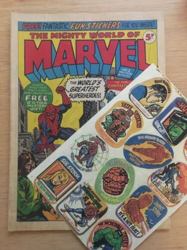MIGHTY WORLD OF MARVEL No 3  Oct 1972 with Free Gift