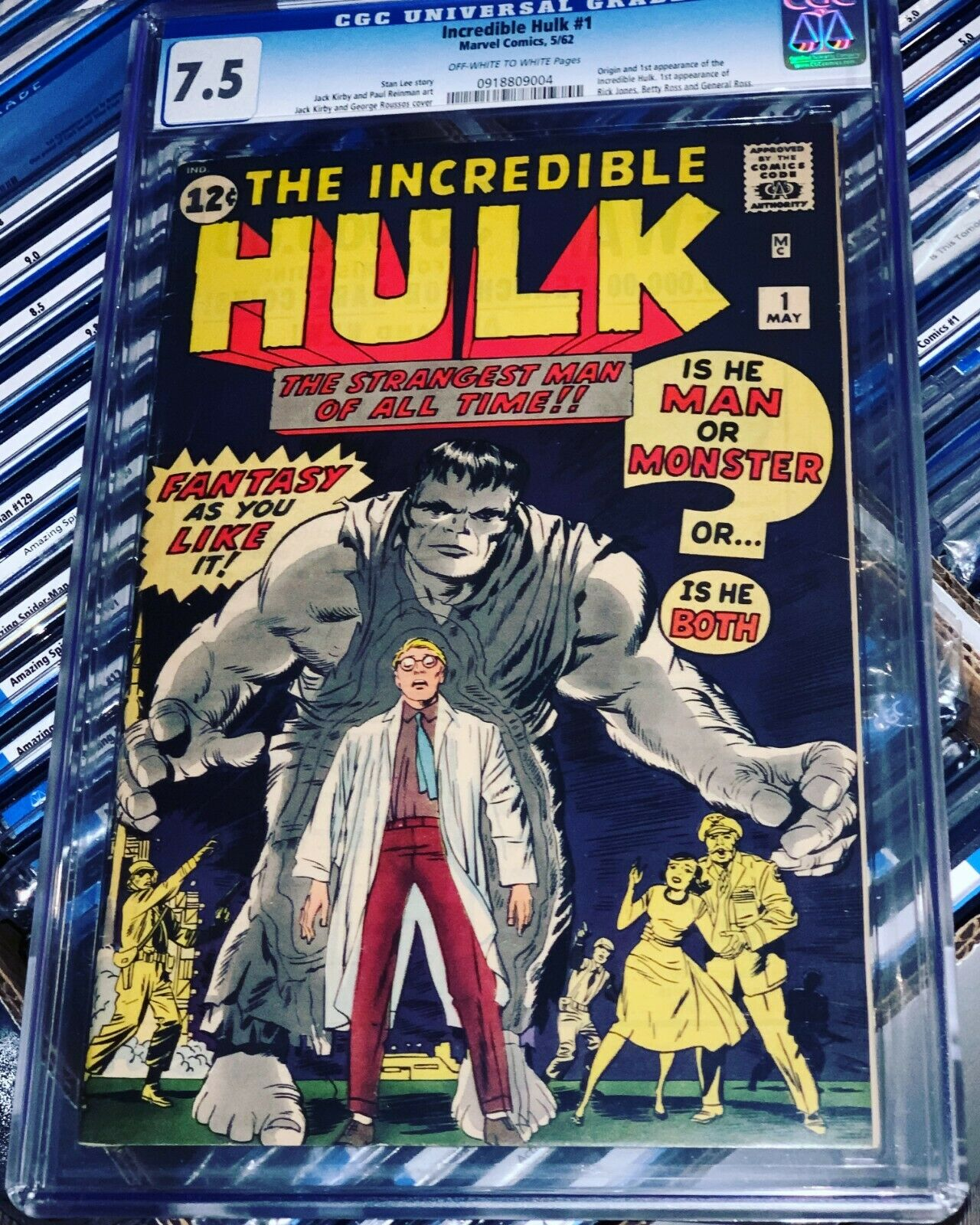 Incredible Hulk 1 CGC 7.5 VF- OW/W Marvel 1962 High Grade Silver Age Grail