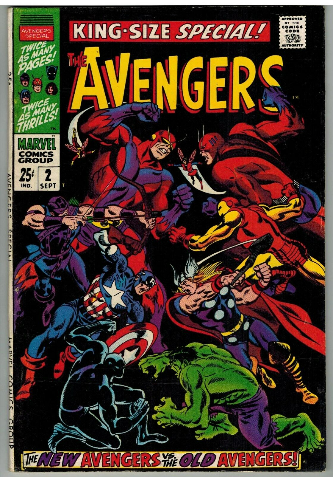 AVENGERS ANNUAL #2 1968 NEW AVENGERS VS OLD AVENGERS SILVER AGE GIANT 68 PAGES