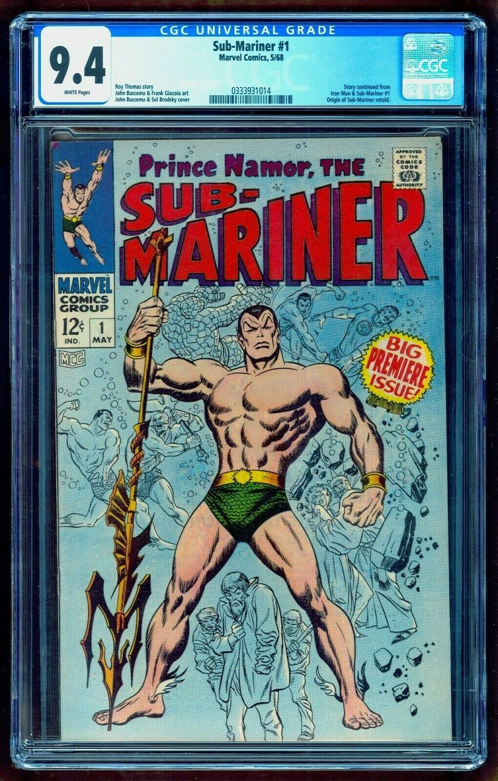 SUB-MARINER 1 CGC 9.4 WHITE   ORIGIN NAMOR   SEE OUR FANTASTIC FOUR 4 FIRST APP