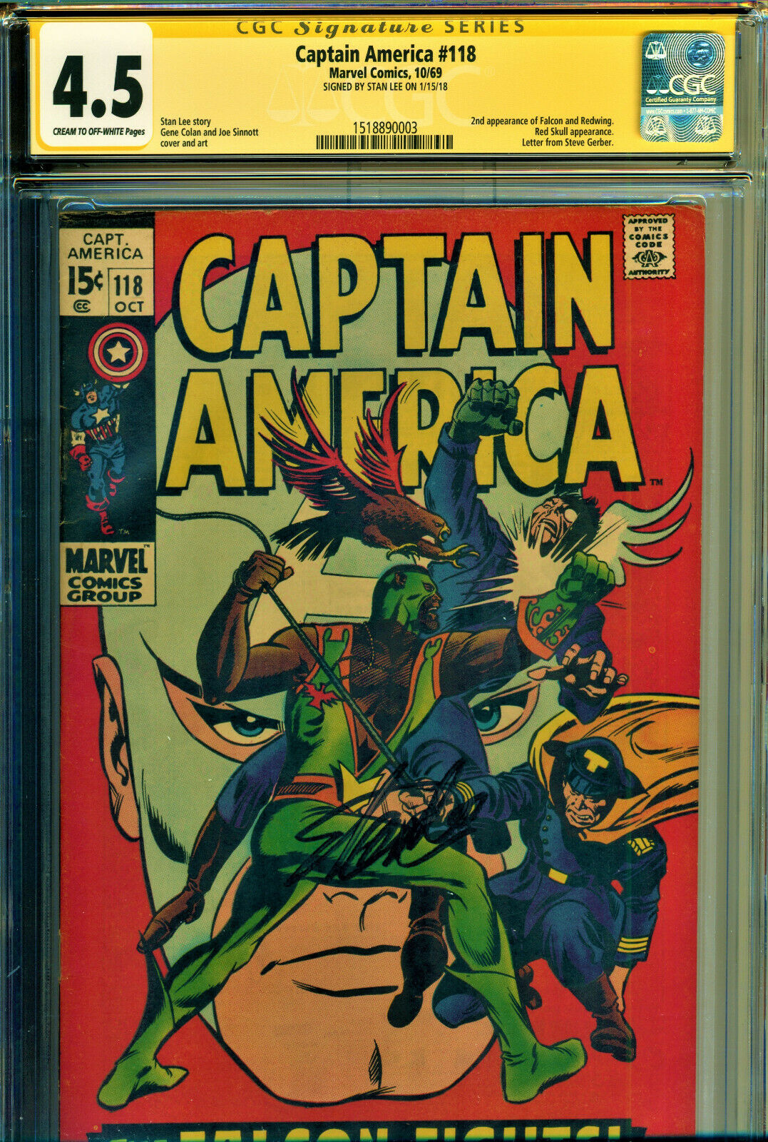 CAPTAIN AMERICA #118 CGC 4.5 SS SIGNED BY STAN LEE 2ND APP OF FALCON-RED SKULL