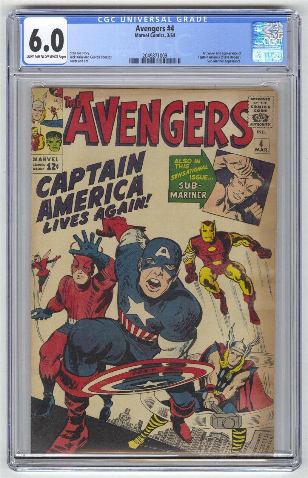 Avengers #4 CGC 6.0 VINTAGE Marvel Comic MEGA KEY 1st Silver Age Captain America