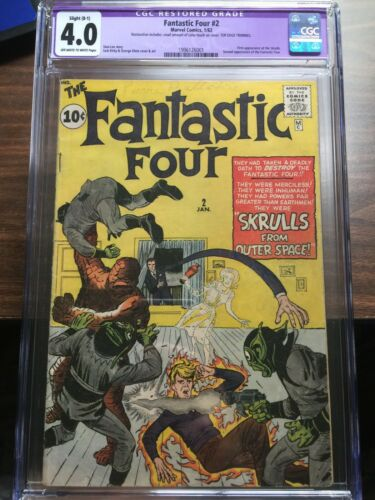?Fantastic Four #2 CGC 4.0 Restored OW/W   *1ST SKRULLS + 2ND FANTASTIC FOUR?