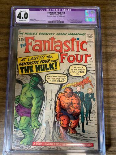Fantastic Four #12 CGC 4.0 Restored Grade C-1 Hulk Meets FF