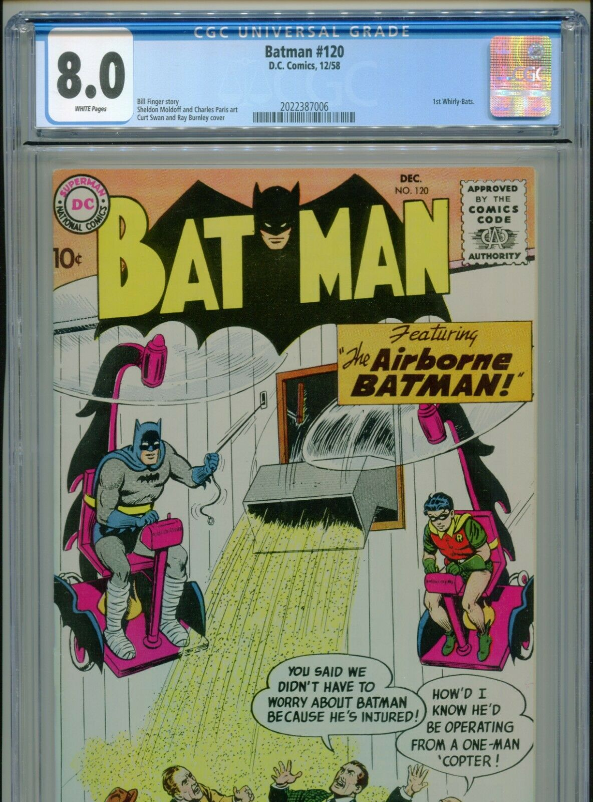 1958 DC BATMAN #120 SHELDON MOLDOFF 1ST APPEARANCE WHIRLY-BATS CGC 8.0 WHITE BX1