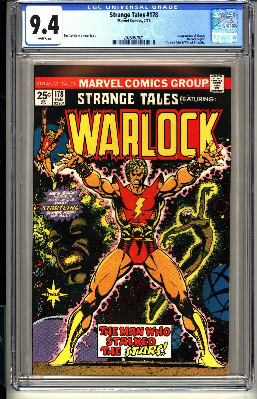 STRANGE TALES #178  CGC 9.4 WP NM  Marvel Comics 2/75 1st app MAGNUS  Warlock