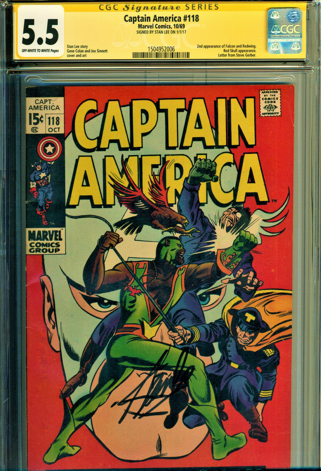 CAPTAIN AMERICA #118 CGC 5.5 SS SIGNED BY STAN LEE 2ND APP OF FALCON-RED SKULL