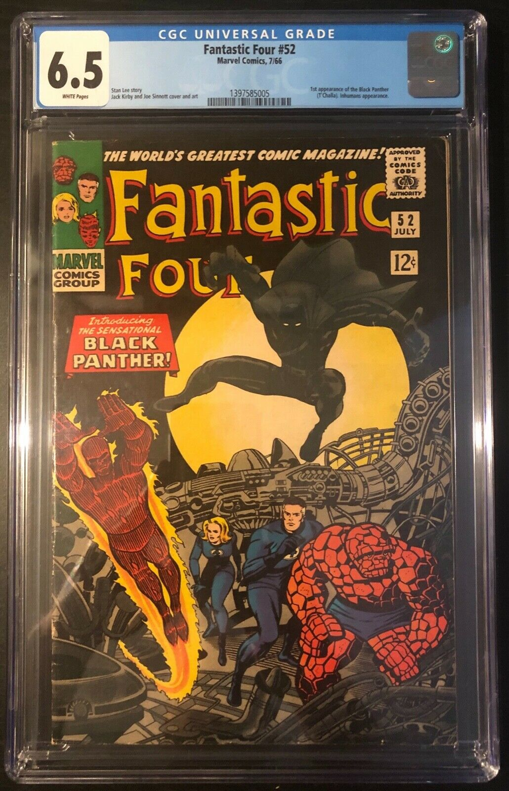 CGC 6.5 Fantastic Four #52 1st Black Panther App Key Marvel Silver White Pages
