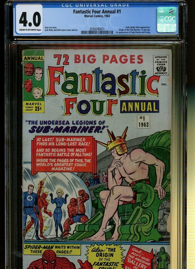 Fantastic Four Annual 1 CGC 4.0 | Early Spider-Man App. Sub-Mariner Origin.