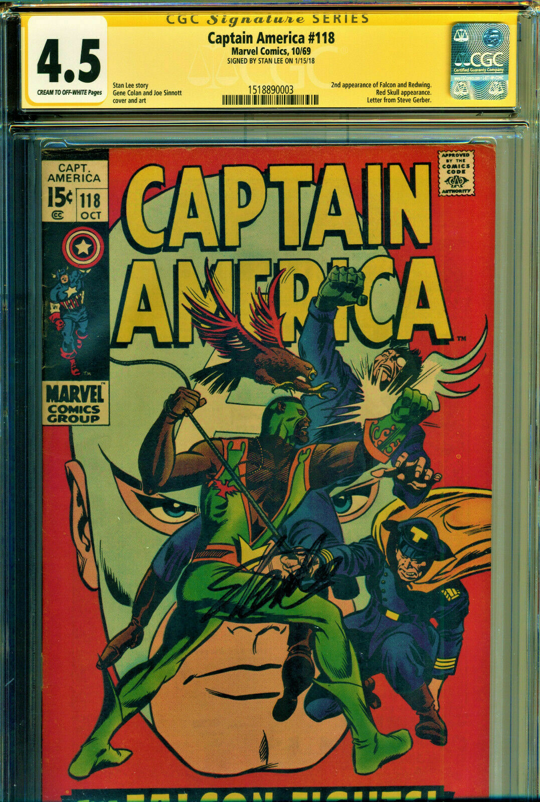 Captain America #118 CGC 4.5 SS Signed Stan Lee 2nd Appearance of Falcon