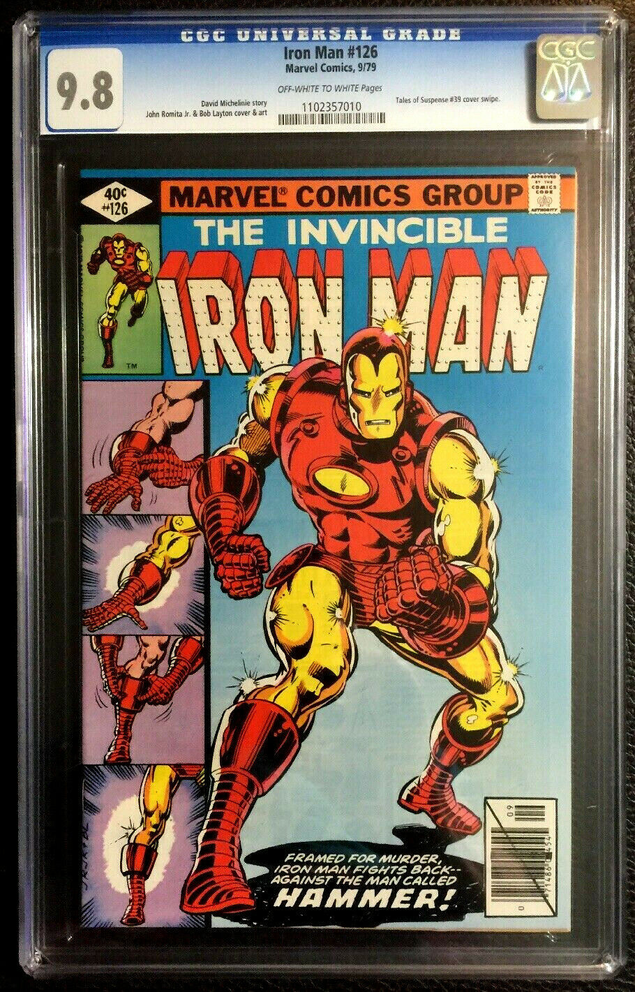 IRON MAN #126 CGC 9.8 MARVEL COMICS 1979 ROMITA JR LAYTON CLASSIC COVER SWIPE