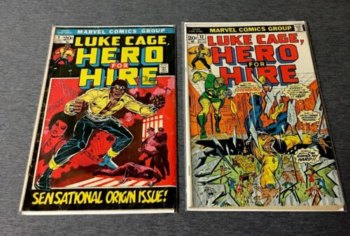VINTAGE AUG 1972 #1 1973 #12 MARVEL COMICS LUKE CAGE HERO FOR HIRE ORIGIN ISSUE