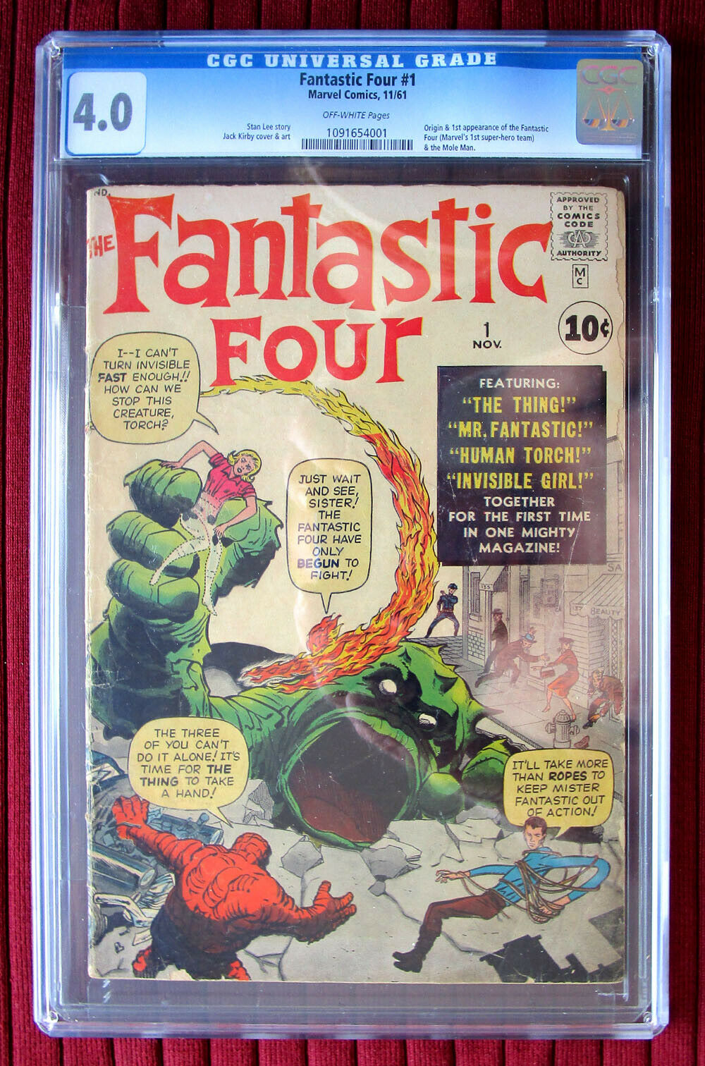 FANTASTIC FOUR #1  CGC 4.0  OFF-WHITE PAGES  ORIGIN AND 1ST APPEARANCE OF FF