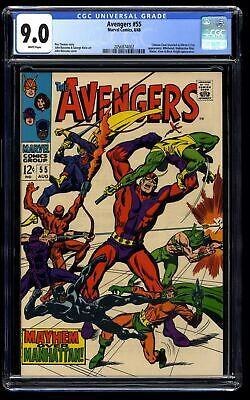 Avengers #55 CGC VF/NM 9.0 WHITE Pages Thor Captain America 1st Ultron