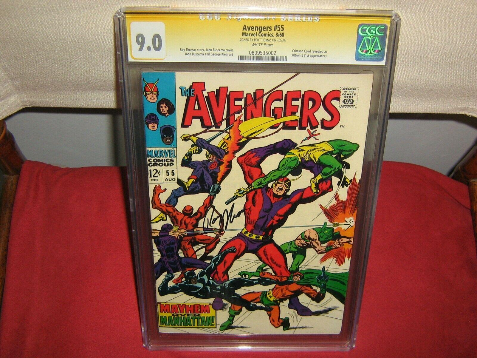 Avengers 55 CGC 9.0 Signature Series Roy Thomas 1st Ultron-5 Crimson White Pages