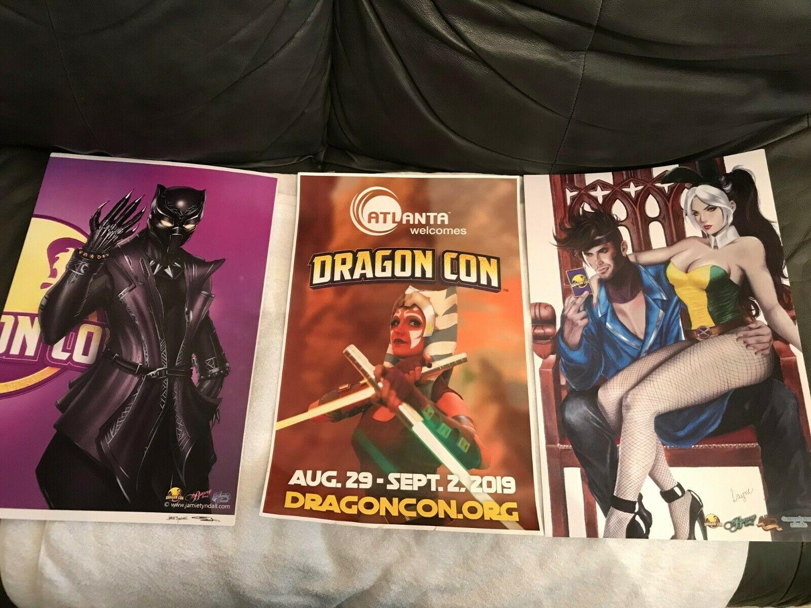 Dragon Con 2019 memorabilia collectible posters 3 in all plus a room key