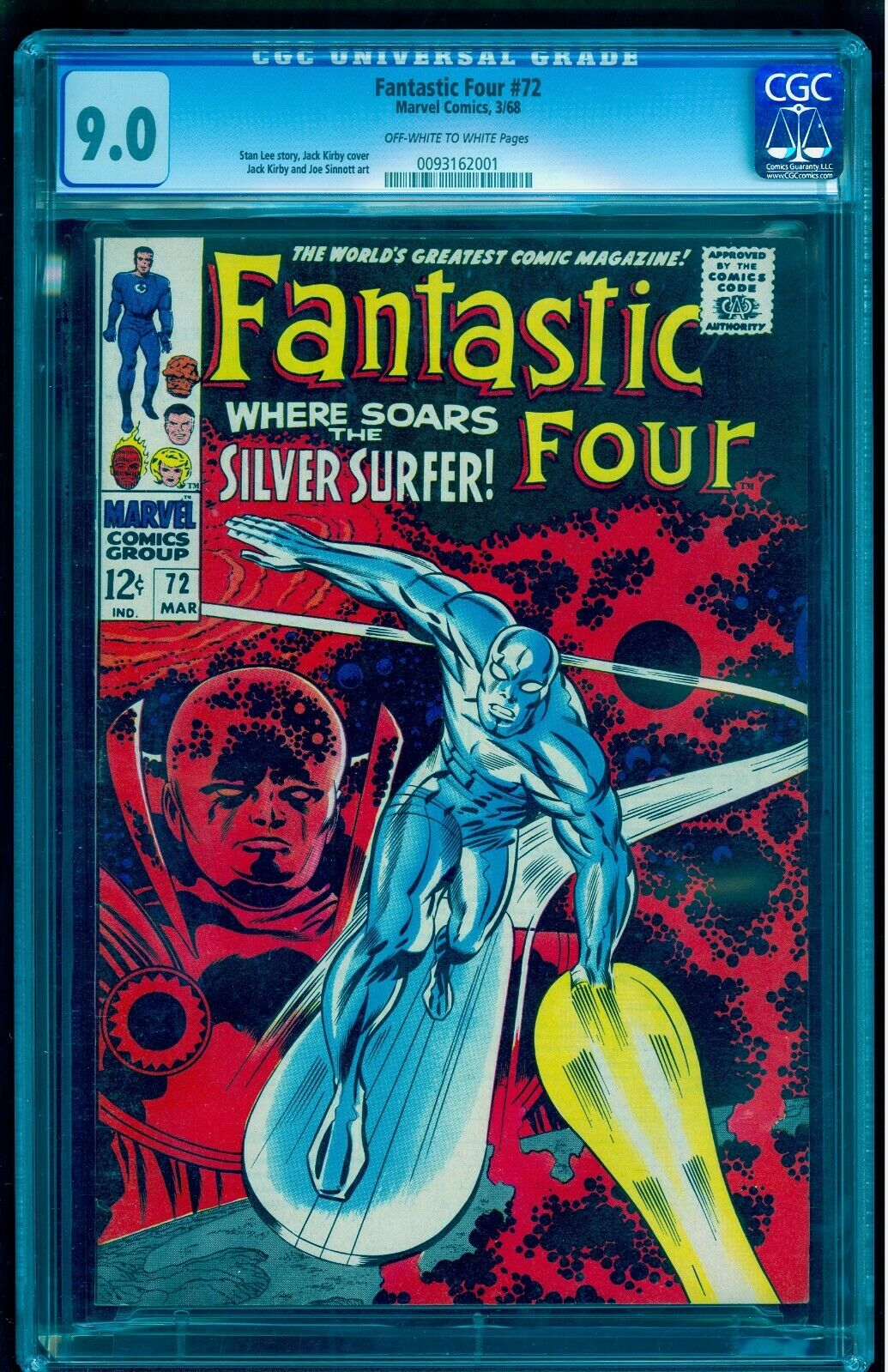 FANTASTIC FOUR 72 CGC 9.0 OWW UNDER GRADED   SEE OUR SILVER SURFER 1 & 4 AUCTION