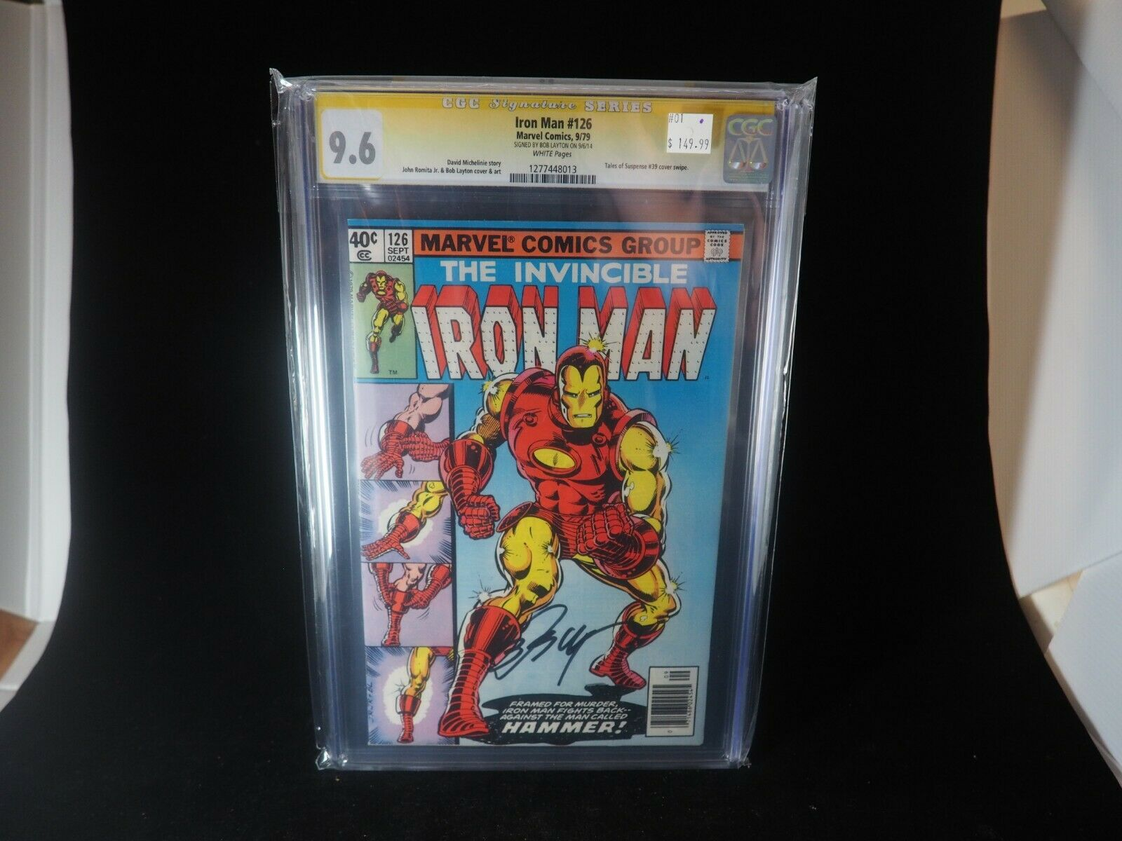 CGC SS 9.6 Iron Man #126 signed Bob Layton