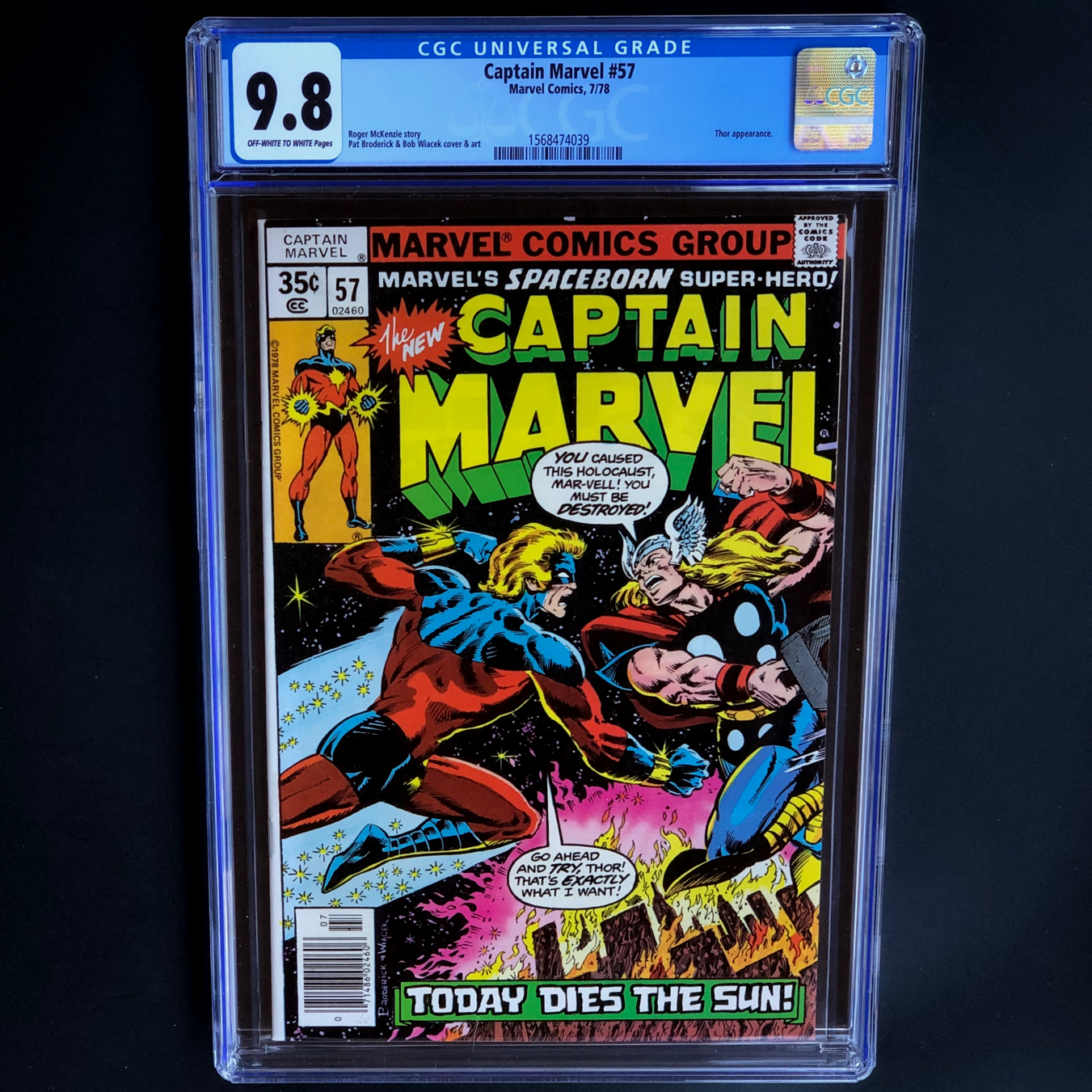 CAPTAIN MARVEL #57 (1978) ? CGC 9.8 ? SCARCE - 1 OF ONLY 35 THOR BATTLE