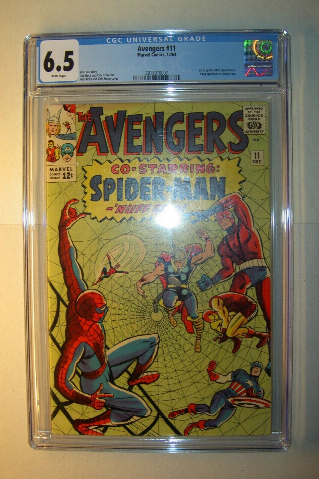 Avengers #11 CGC 6.5, FN+,White pages,1964,early Spider-Man xover Stan Lee story