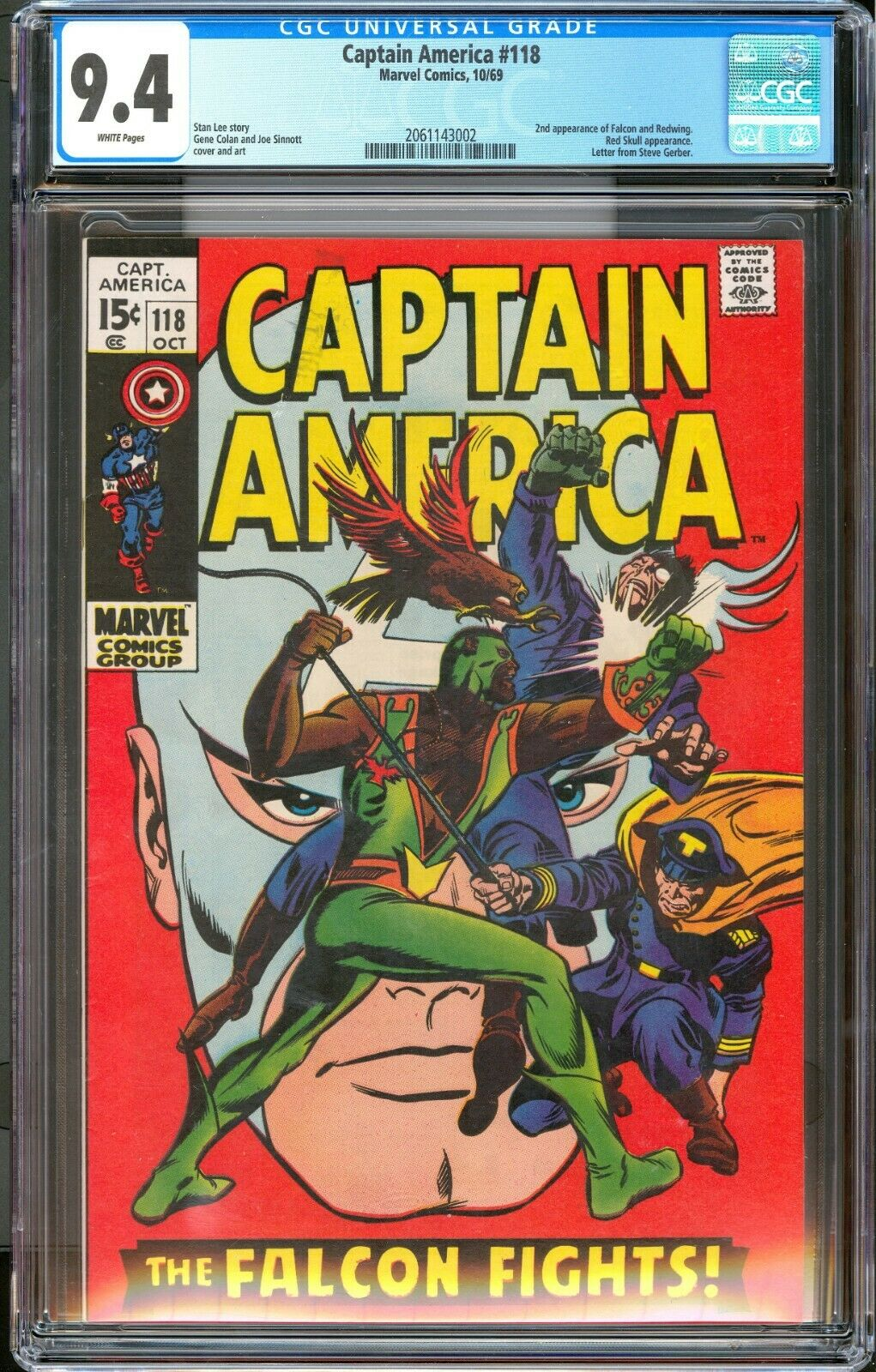 Captain America 118 / CGC Blue 9.4 White Pages / Falcon