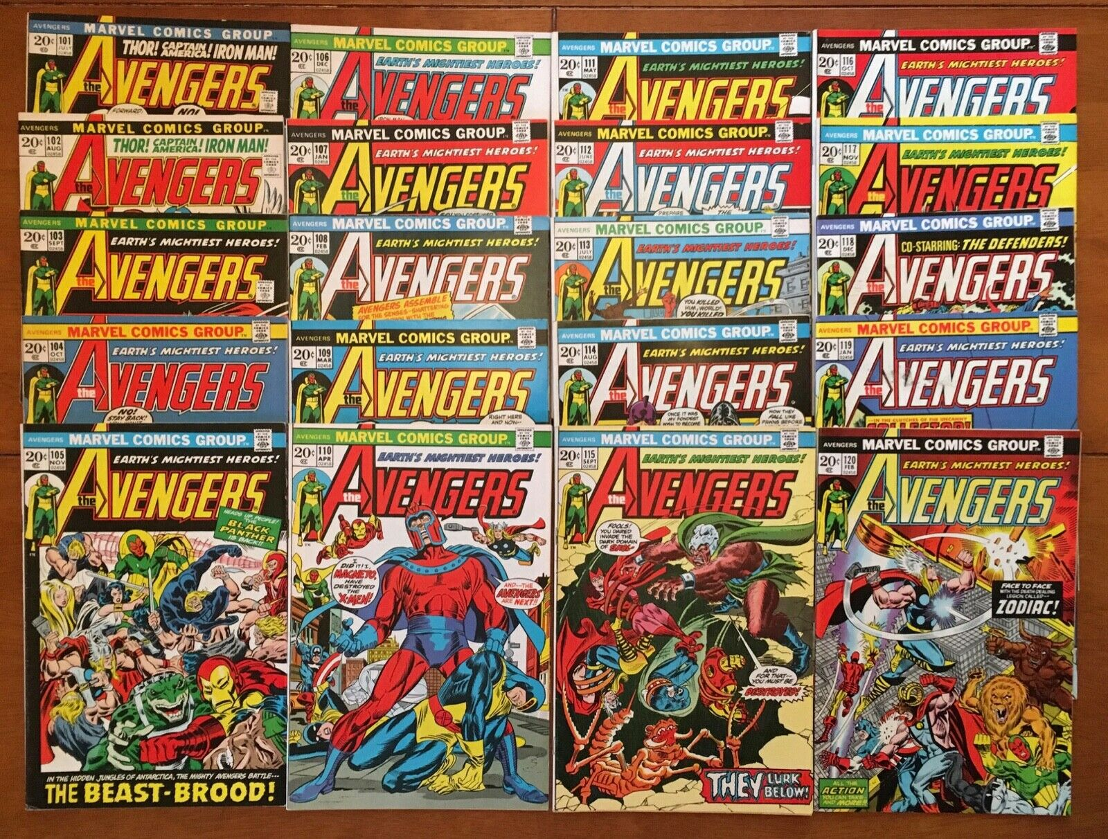 Avengers 101-120 [LOT of 20] Marvel 1972-74 Stan Lee; Vision/Thor/Cap/Iron Man